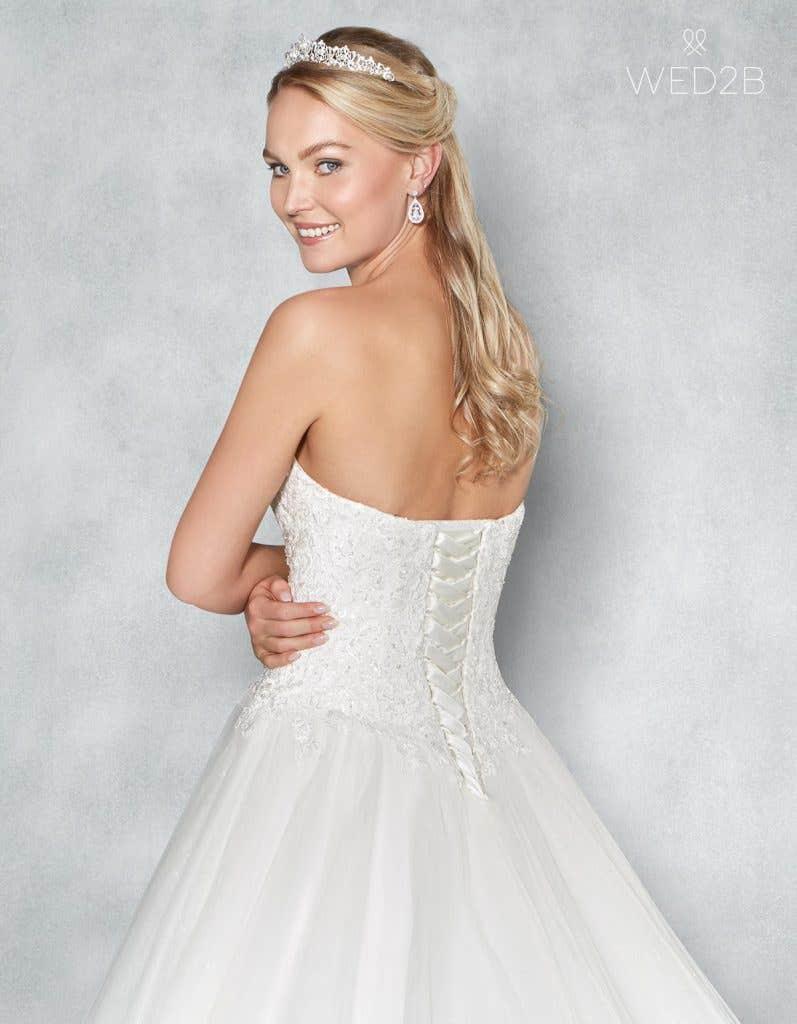 Back crop view of romantic wedding dress Eternity