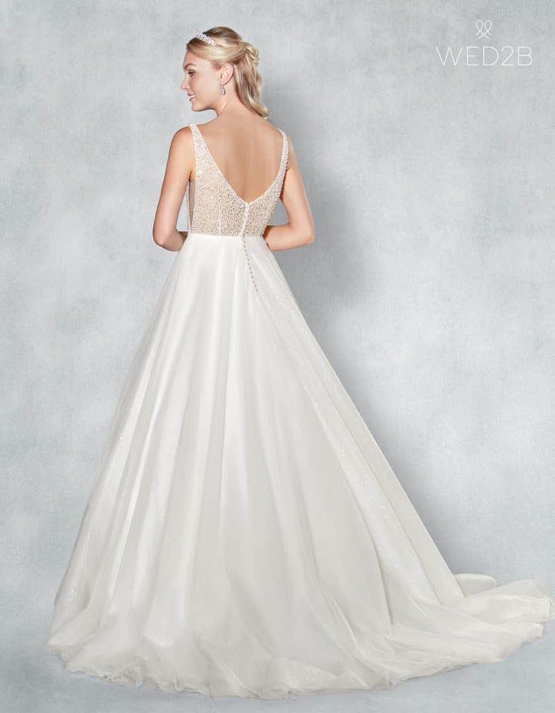 Back view of beautiful wedding dress Evita