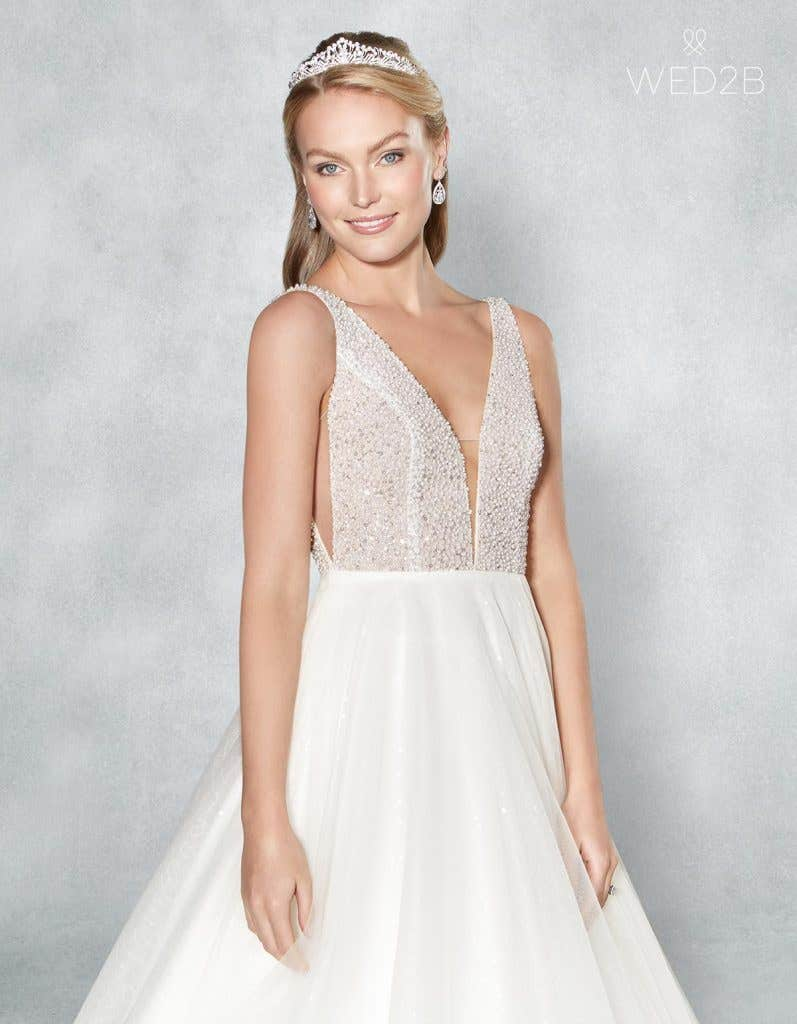 Front crop view of beautiful wedding dress Evita