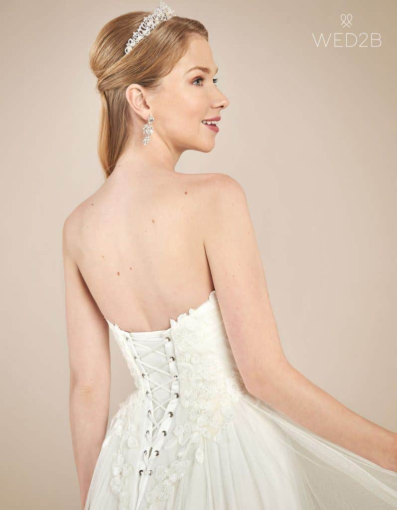 Back crop of floaty wedding dress Florence