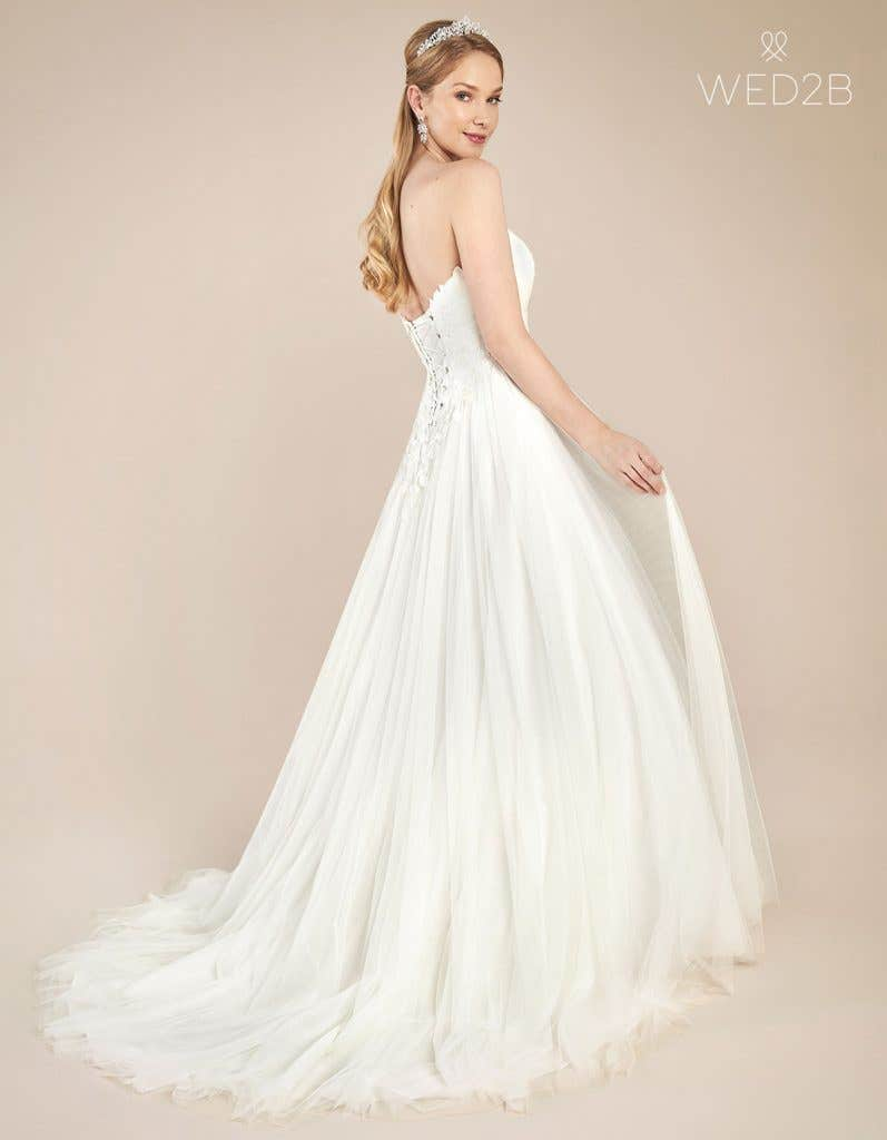 Back view of floaty wedding dress Florence