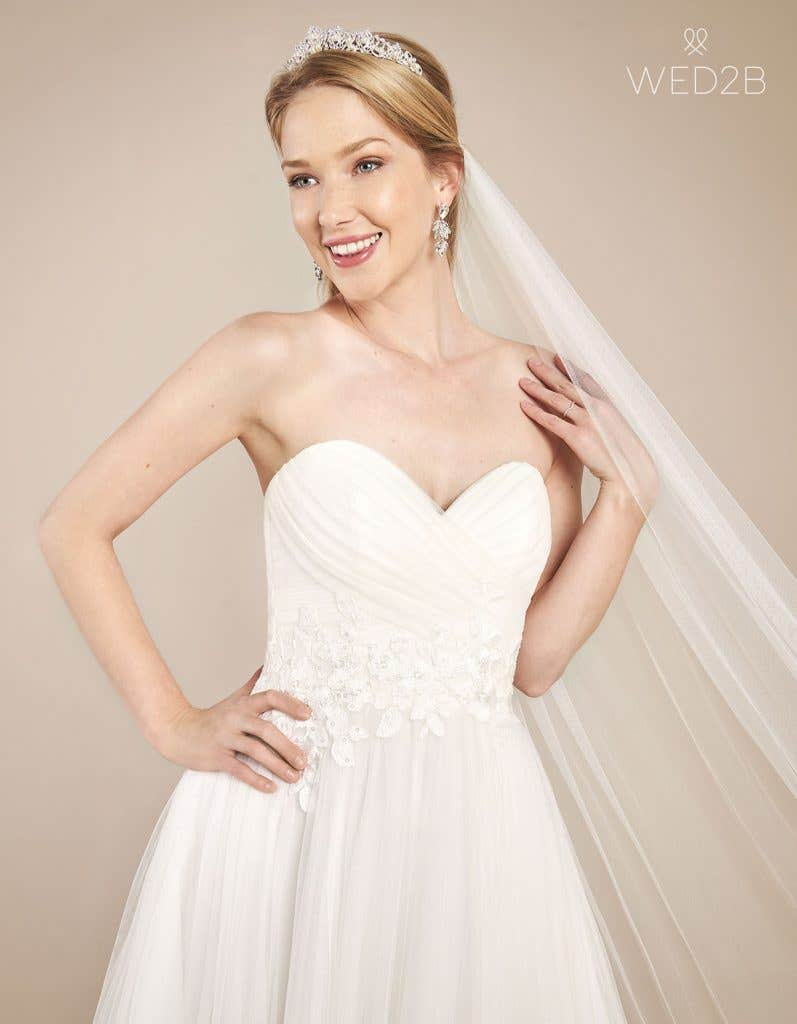 Front crop view of floaty wedding dress Florence