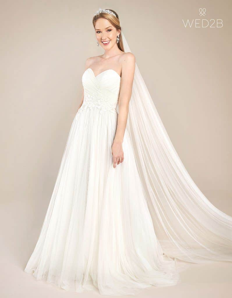 Front view of floaty wedding dress Florence