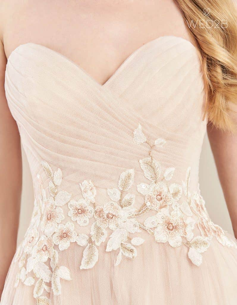 Detail view of floaty wedding dress Florence