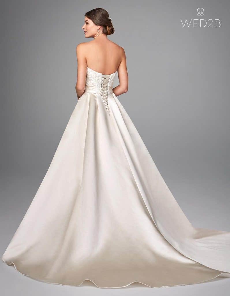 Back view of oyster traditional wedding dress Helene