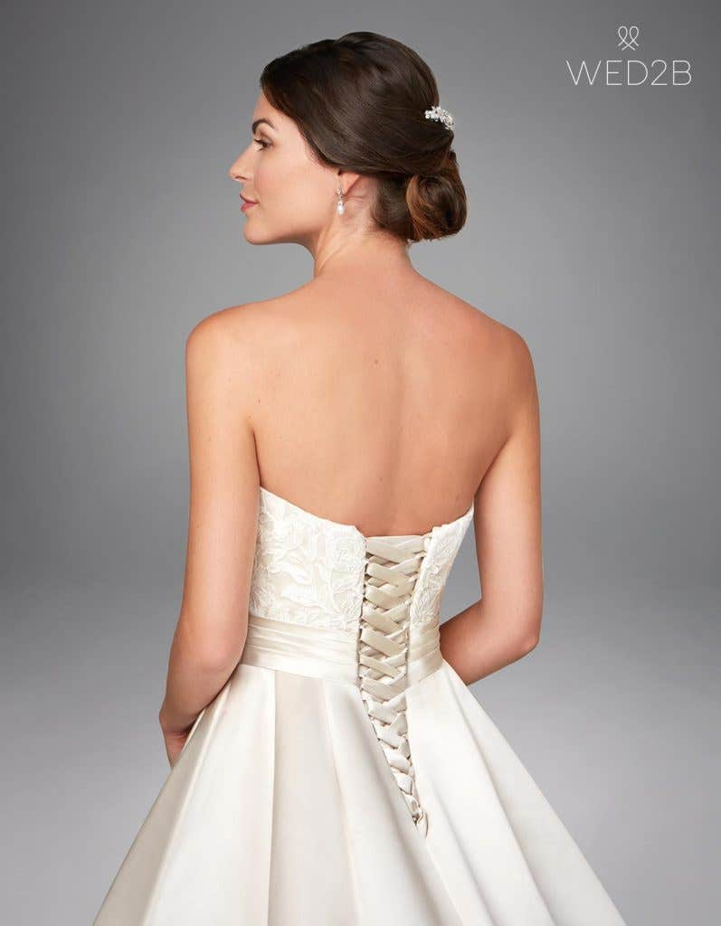 Back crop view of oyster traditional wedding dress Helene