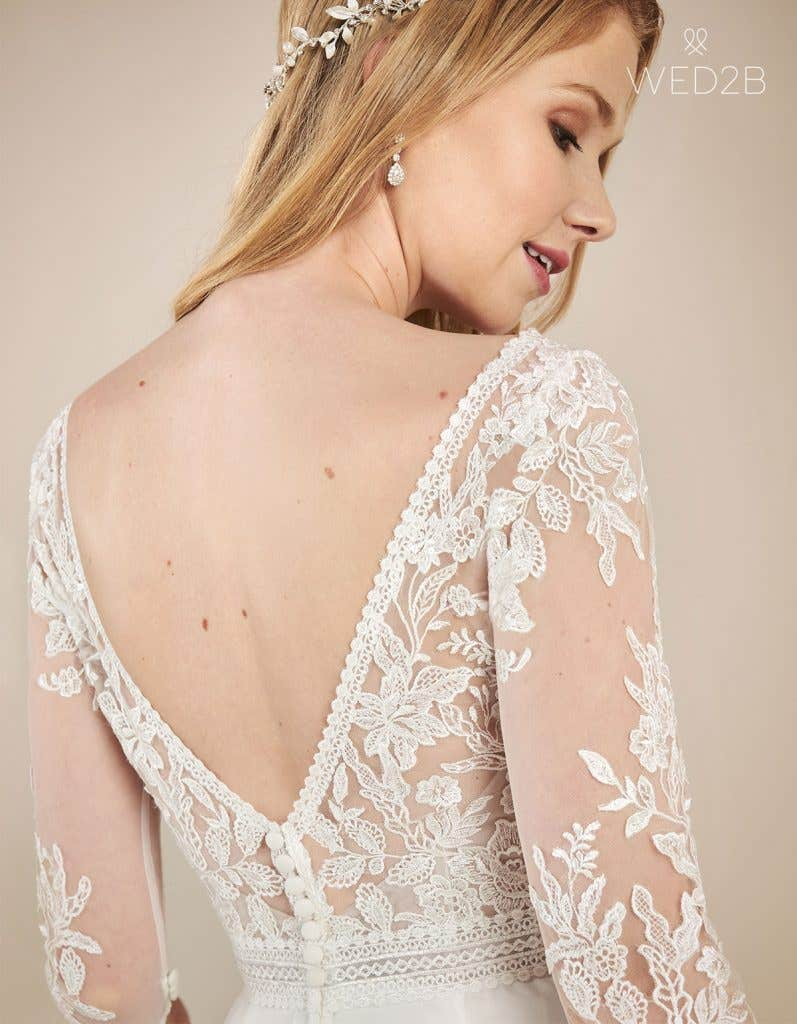 Back crop view of floaty wedding dress Henny