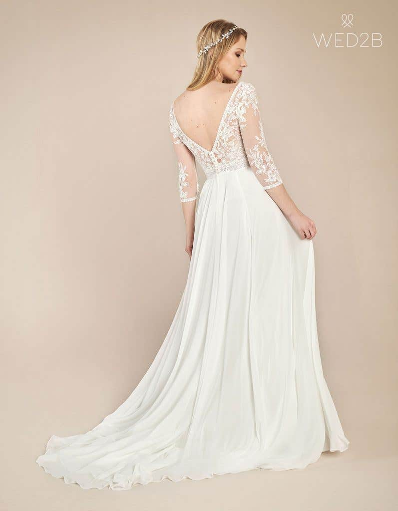 Back view of floaty wedding dress Henny