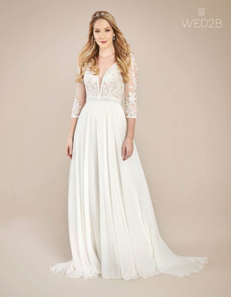 Front view of floaty wedding dress Henny