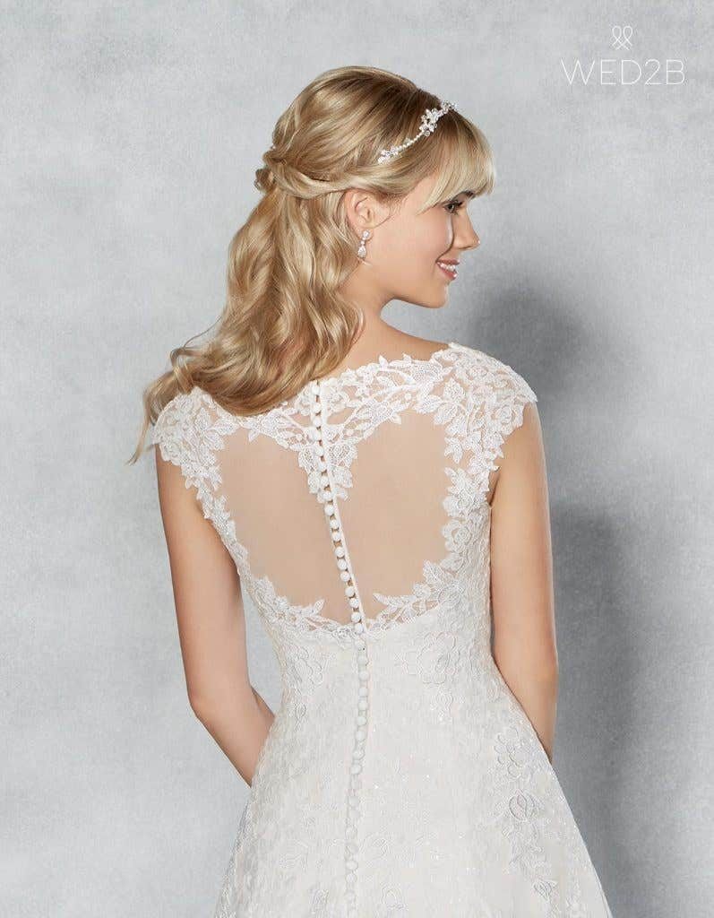 Back Crop view of romantic wedding dress Jamie