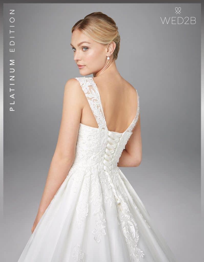 Back crop view of wedding dress with straps Karolina