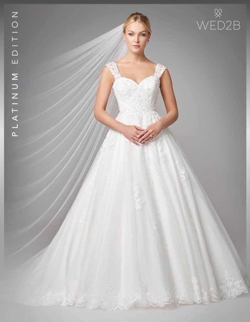 Front view of wedding dress with straps Karolina