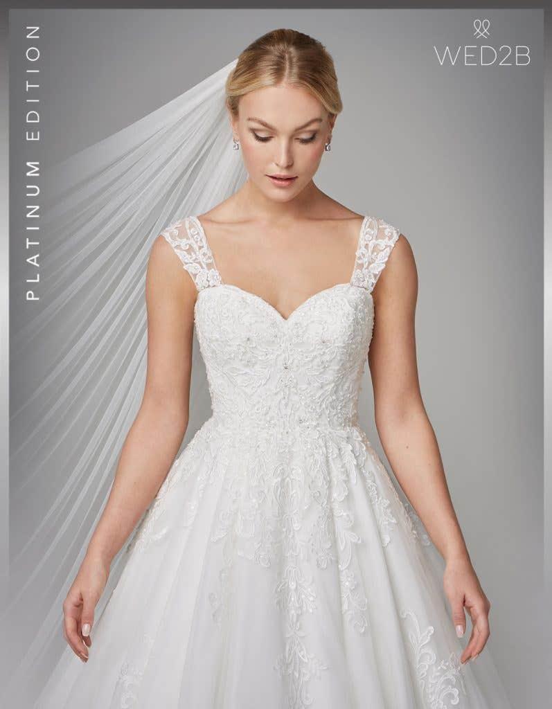 Front crop view of wedding dress with straps Karolina
