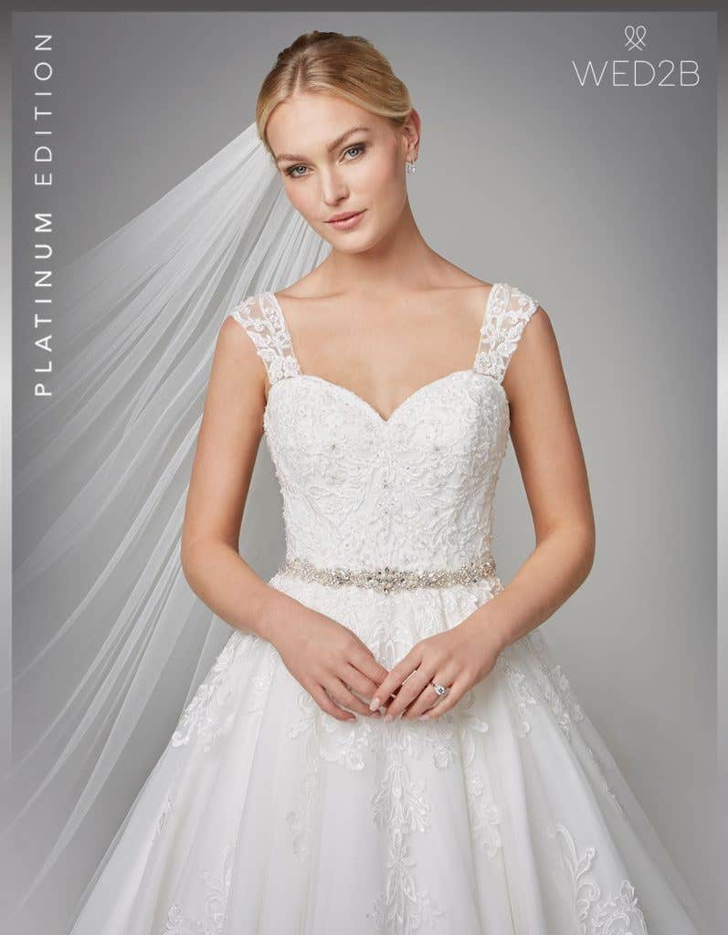 Front crop2 view of wedding dress with straps Karolina