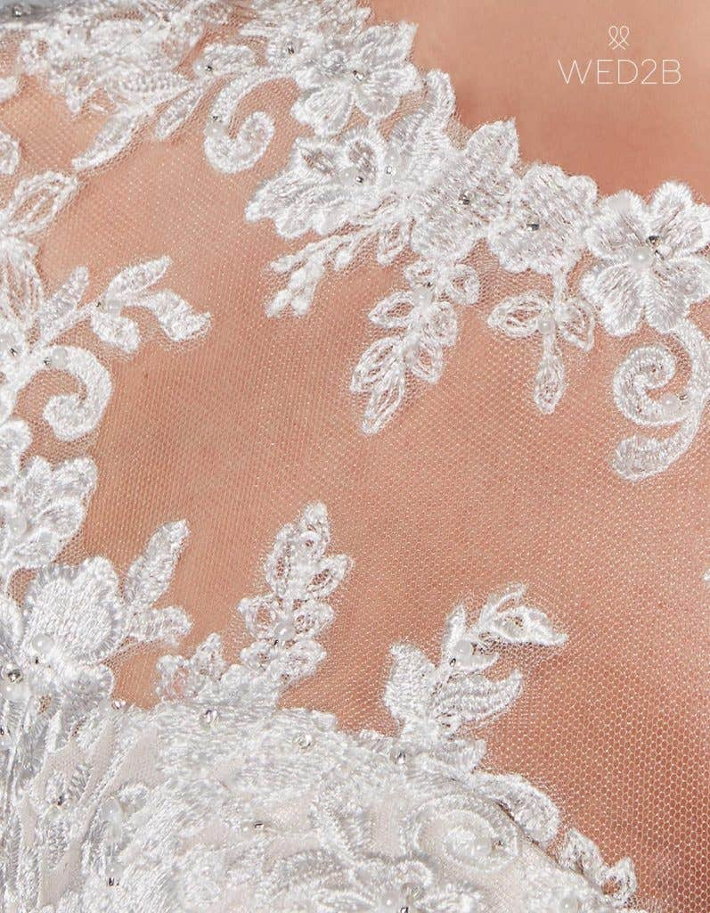 Detail view of romantic wedding dress Lucia