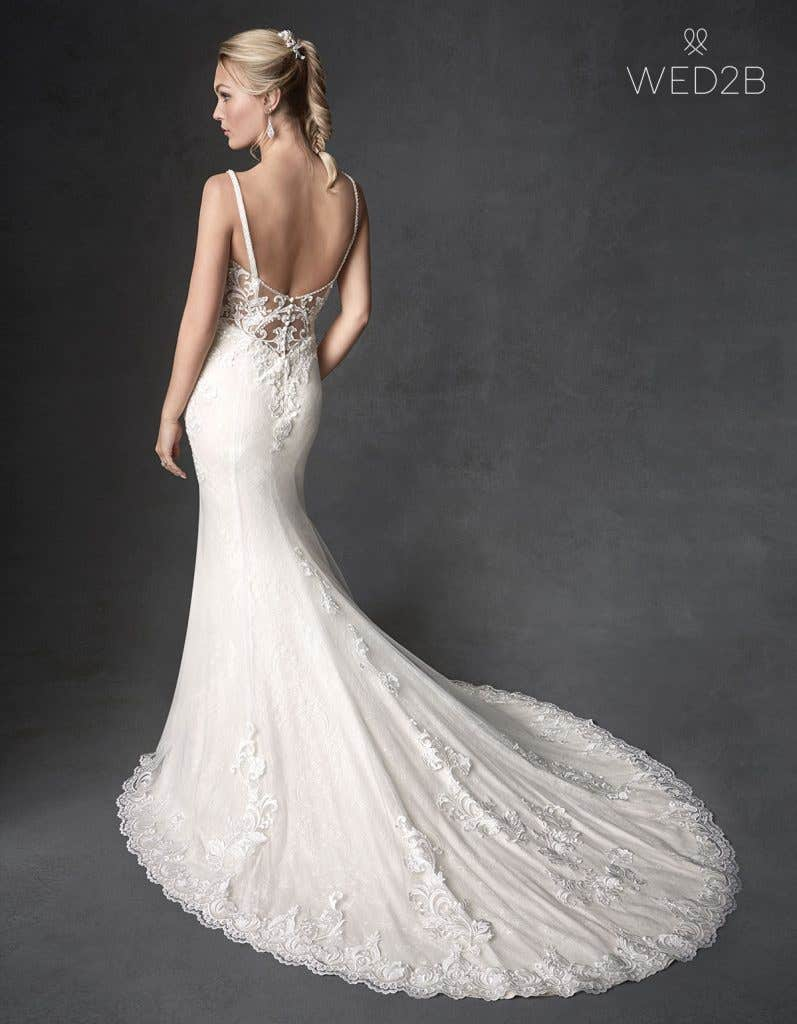 Back view of wedding dress with straps Syrah