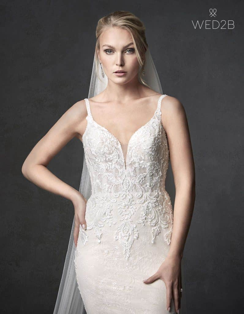Front crop view of wedding dress with straps Syrah