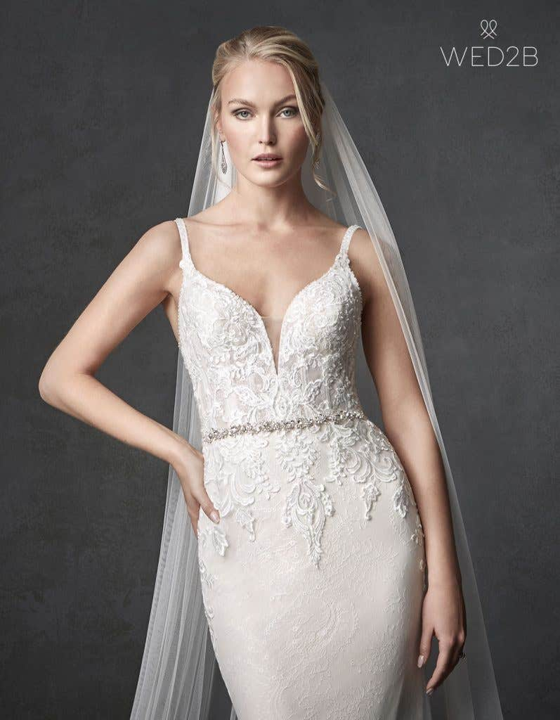 Front crop2 view of wedding dress with straps Syrah