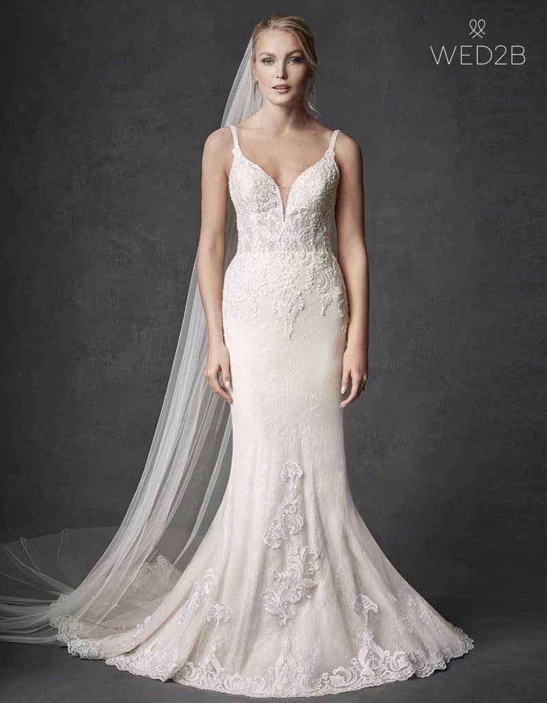 Front view of wedding dress with straps Syrah