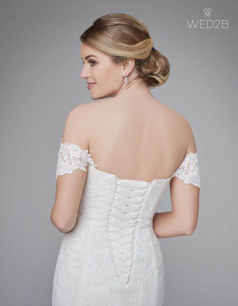 back crop view of traditional wedding dress Winslet