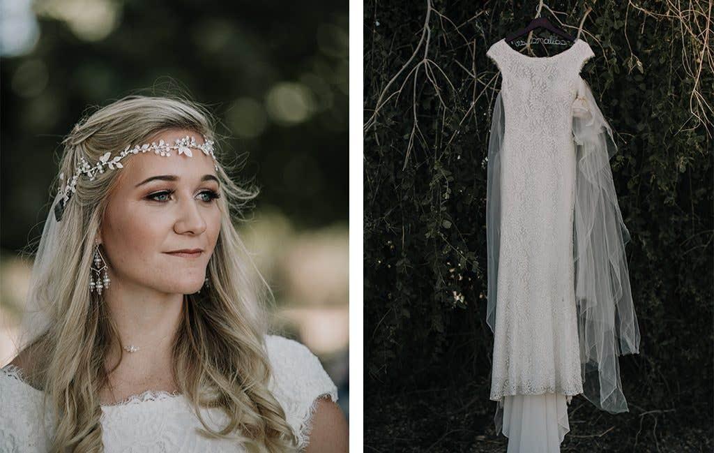 The beautiful bride and her boho wedding dress at her safari wedding