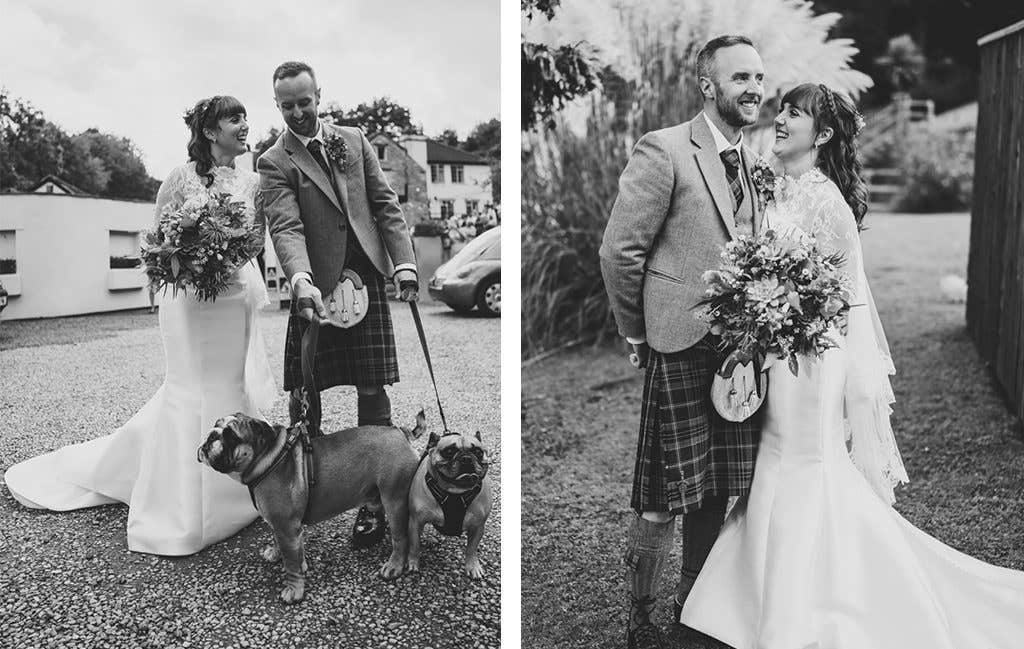 The happy couple with their dogs at their mill wedding venue
