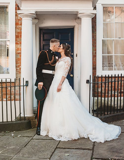 The married couple at their townhouse wedding
