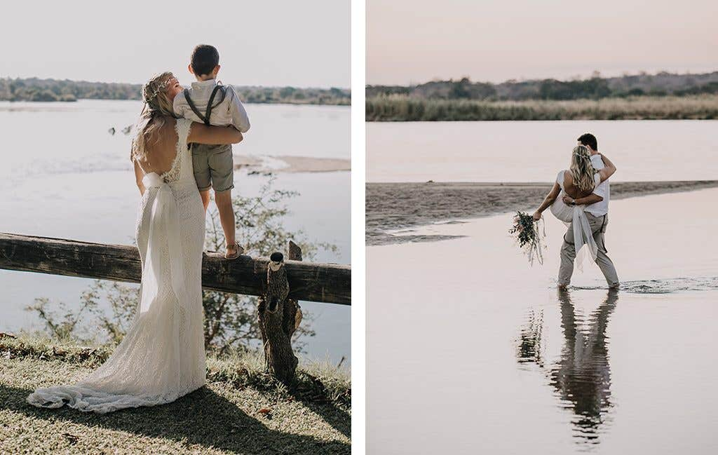 Taking in the beautiful views at their safari wedding