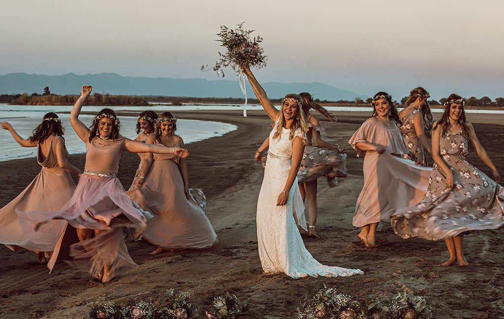 The bride and her bridesmaids at their safari wedding