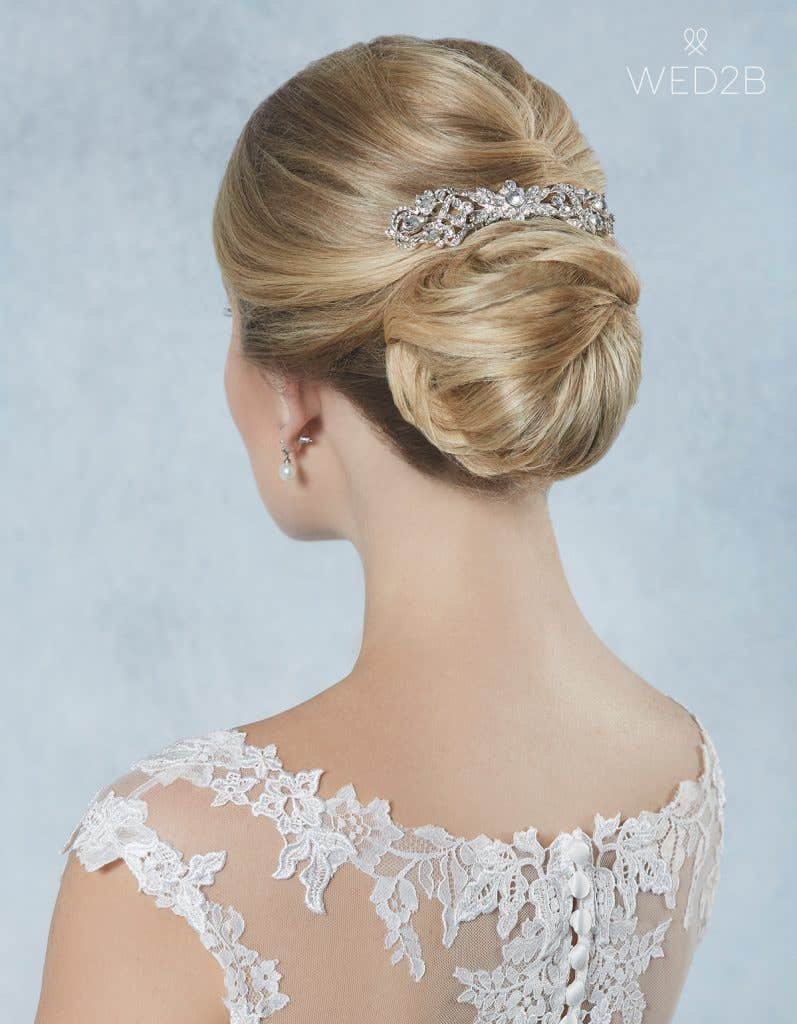 Back view of Alpha from Amixi, a hair accessory with key 2020 wedding dress trends