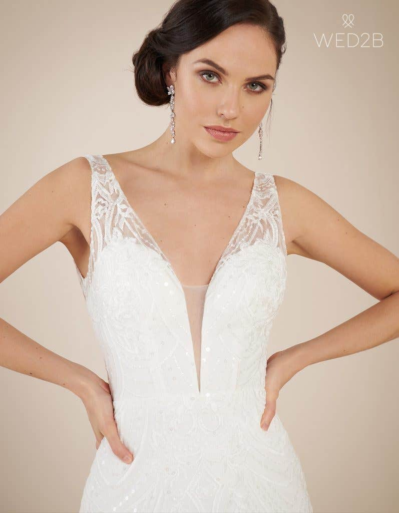 Close-up front view of statement wedding dress Bali by The Signature Collection