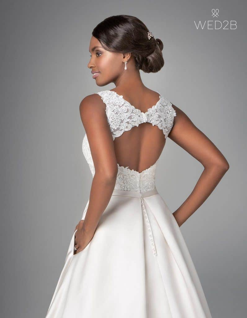 Close-up back view of Destin, a wedding dress by Anna Sorrano