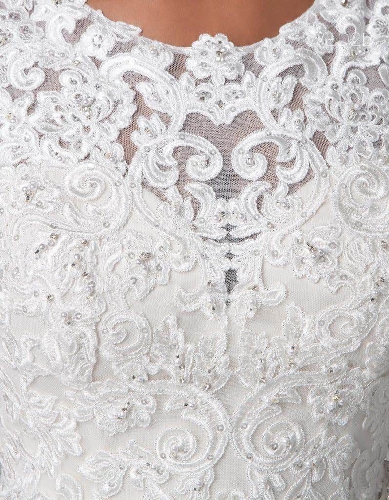 Detailed view of Destin, a wedding dress by Anna Sorrano
