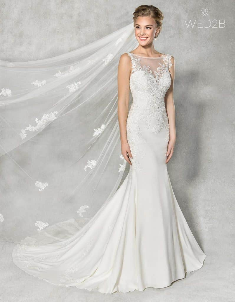Front view of Elsbeth, a wedding dress by Anna Sorrano