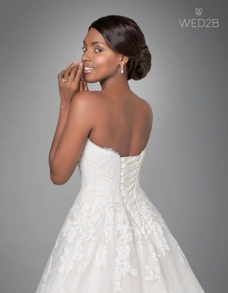 Close-up back view of classic wedding dress Georgette by Anna Sorrano