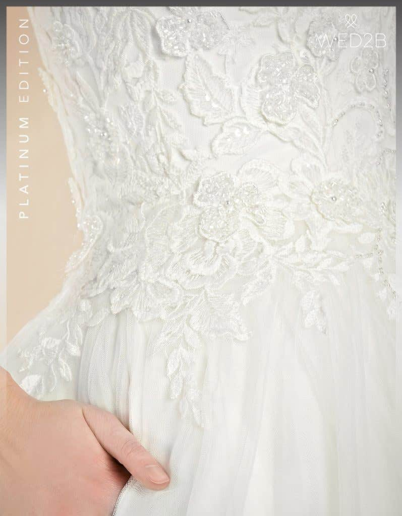 Detailed view of Grady by Anna Sorrano, a dress with key 2020 wedding dress trends