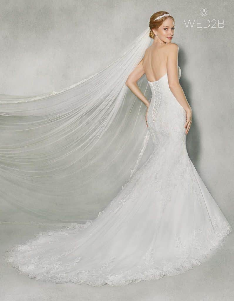 Back view of classic wedding dress Jensen by Anna Sorrano