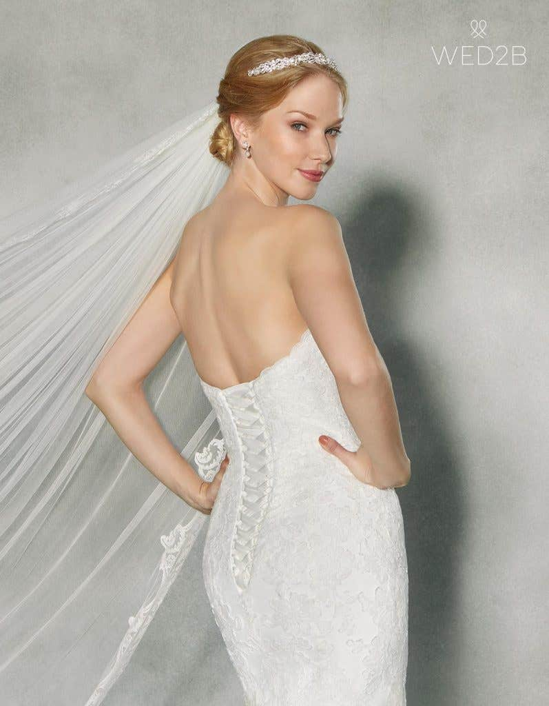 Close-up back view of classic wedding dress Jensen by Anna Sorrano