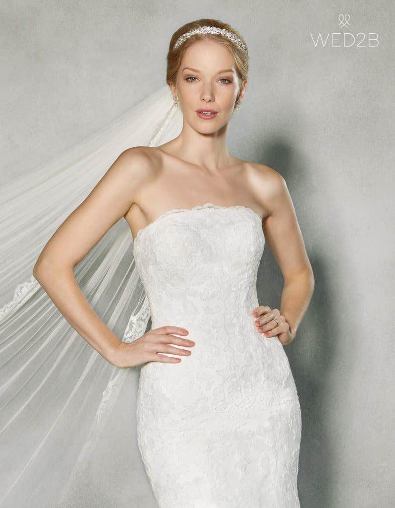 Close-up front view of classic wedding dress Jensen by Anna Sorrano