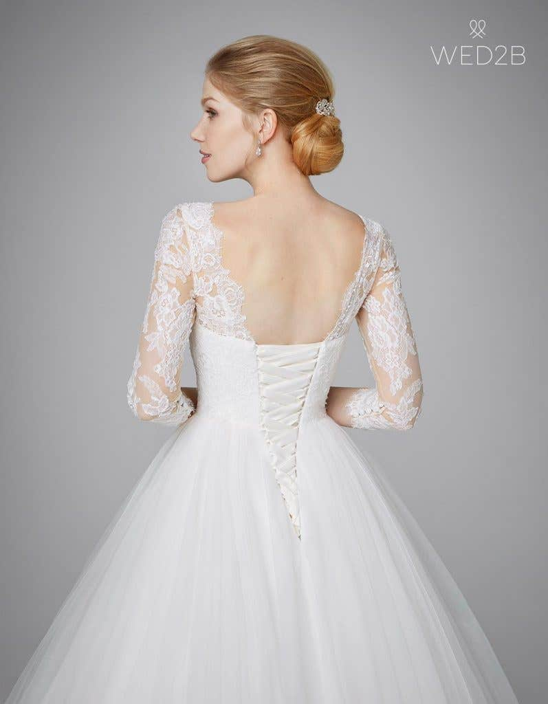 Close-up back view of classic wedding dress Kate by Anna Sorrano