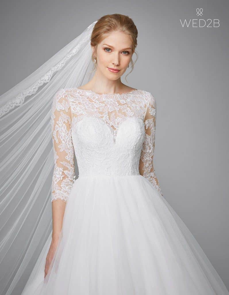 Close-up front view of classic wedding dress Kate by Anna Sorrano