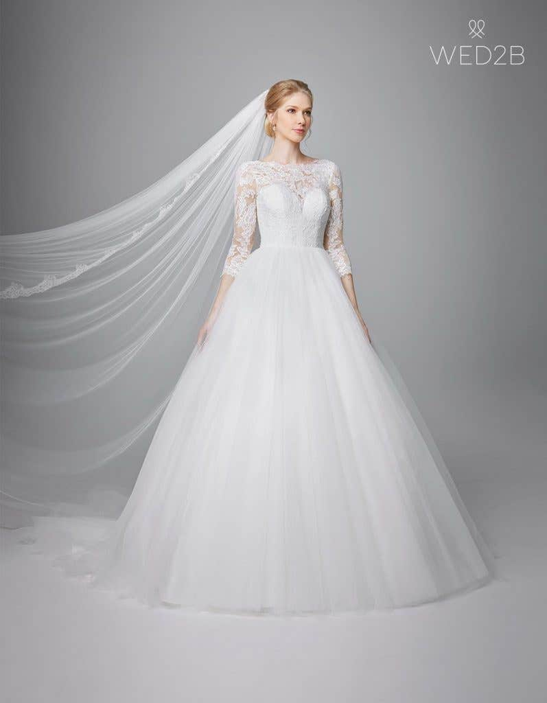 Front view of classic wedding dress Kate by Anna Sorrano