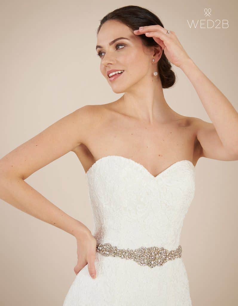 Close-up front view of Larissa, a wedding dress by Anna Sorrano
