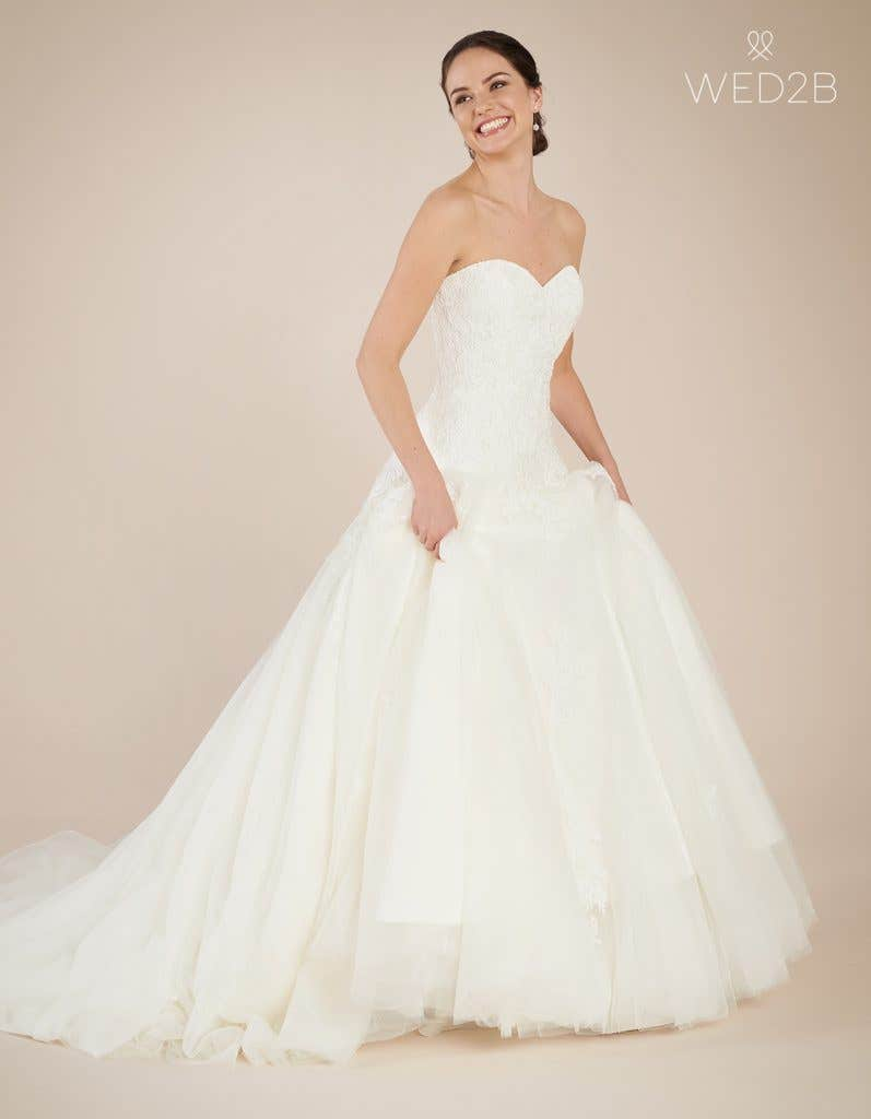 Front view of Larissa, a wedding dress by Anna Sorrano