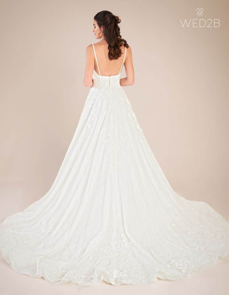 Back view of vintage lace wedding dress Lennox by Viva Bride