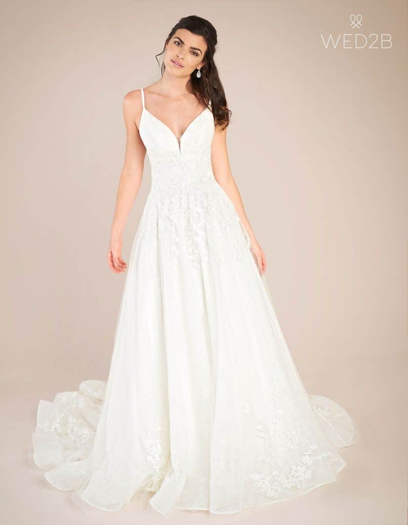 Front view of vintage lace wedding dress Lennox by Viva Bride