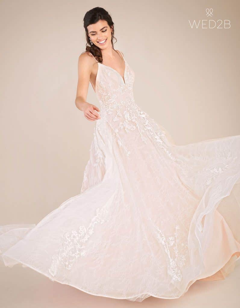 Front view of vintage lace wedding dress Lennox by Viva Bride in blush