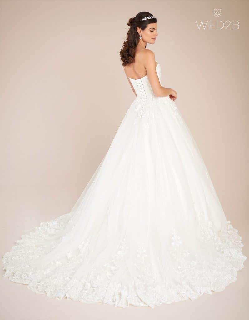 Back view of vintage lace wedding dress Madaline by Viva Bride