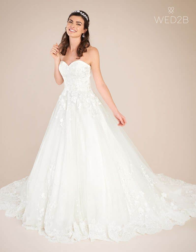 Front view of vintage lace wedding dress Madaline by Viva Bride