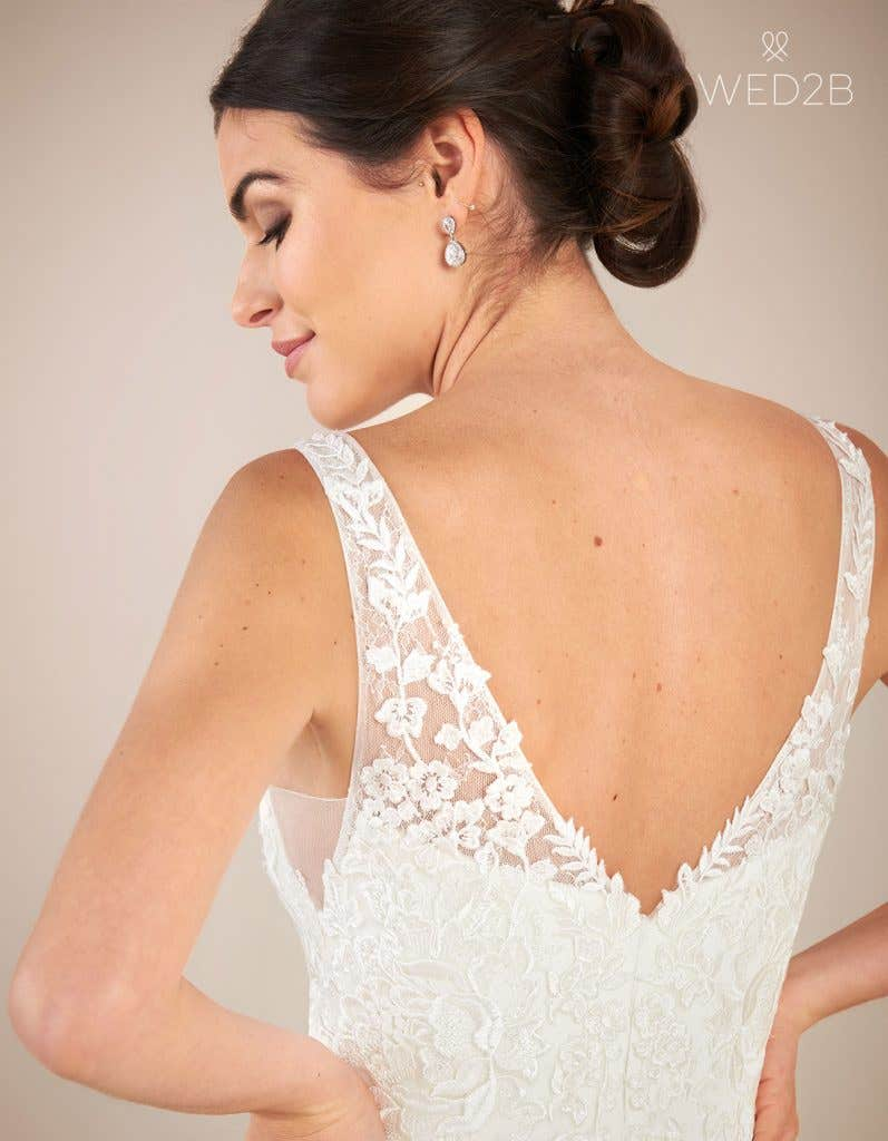 Close-up back view of vintage lace wedding dress Sorrento by Anna Sorrano